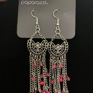 Silver chandelier earrings with pink beads